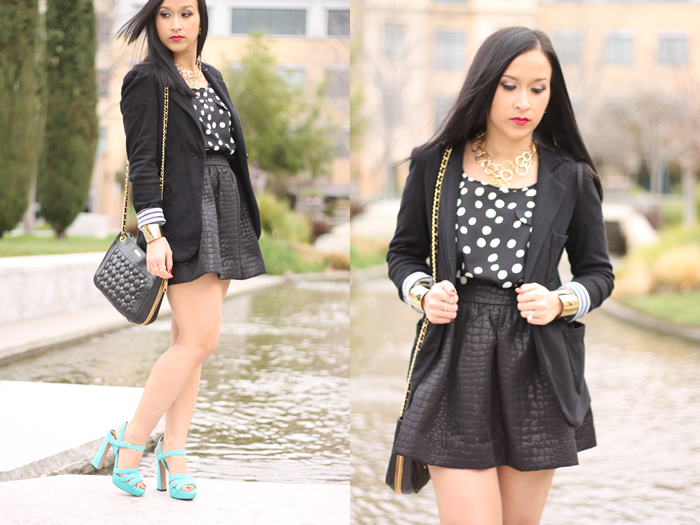 7faf155a6b0f99 Shoes  Sam Edelman. Purse  Rebecca Minkoff Swing Black Shoulder Bag.  Necklace  Cuffs  from Bloomingdales